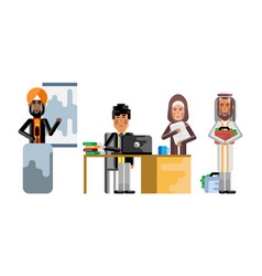 arabic and asian business staff working in office vector image