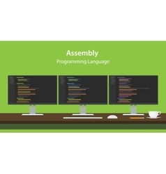 Assembly programming language code vector image
