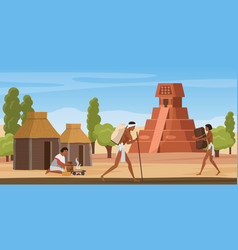 Aztec village landscape with tribe people ancient vector