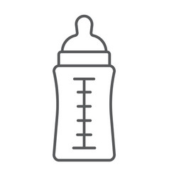 Baby bottle thin line icon feed and milk vector