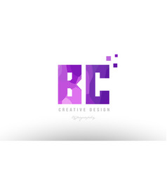 Bc b c pink alphabet letter logo combination with vector