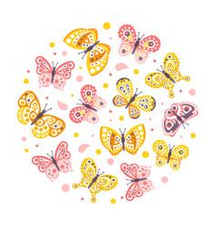 beautiful butterflies seamless pattern cirular vector image
