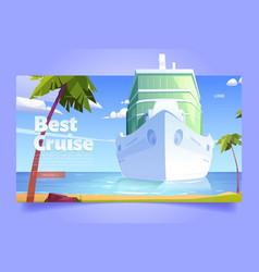 best cruise cartoon landing page liner in ocean vector image