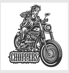 Biker riding a motorcycle drawn in hand made style vector