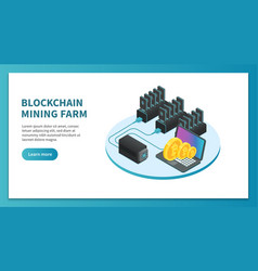bitcoin mining isometric concept cryptocurrency vector image