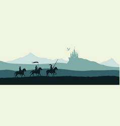 Black silhouette knights on background vector