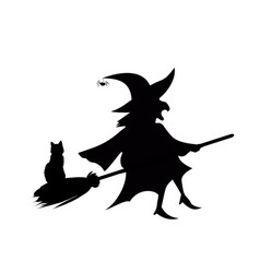 Black silhouette of witch flying on broom with vector