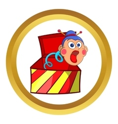 Box jumping with toy icon cartoon style vector image