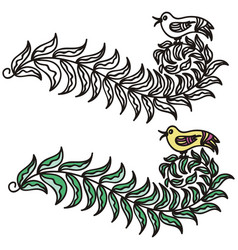 Branch and bird vector