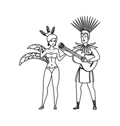 Brazilian dancers couple with guitar vector