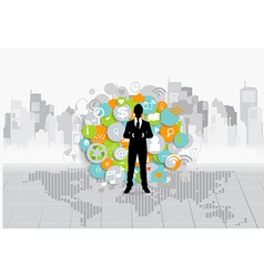 Business concept with businessman and cloud of vector image