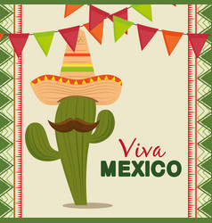 cactus with mexican hat and mustache to celebrate vector image