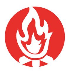 Campfire flame isolated icon vector