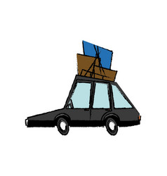 Car vehicle transport with luggage on roof vector
