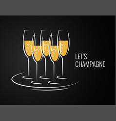 champagne glass on a tray on black background vector image