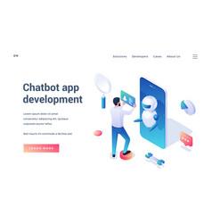 Chatbot app development isometric landing page vector