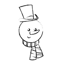 Christman snowman character with hat and scarf vector