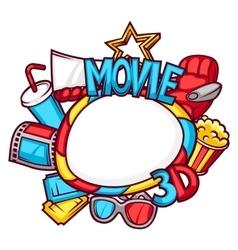 Cinema and 3d movie frame in cartoon style vector