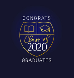 class 2020 book and academic cap vector image