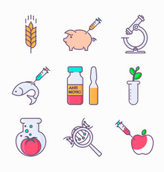 Collection of genetic modification icons gmo vector