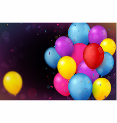 colorful birthday celebration banner with balloons vector image