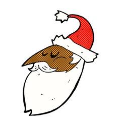 Comic cartoon santa face vector