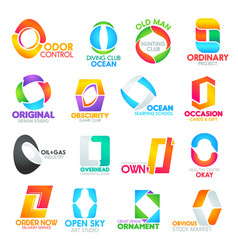 commercial letter o corporate identity icons signs vector image
