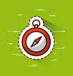 Compass over green background icon image vector