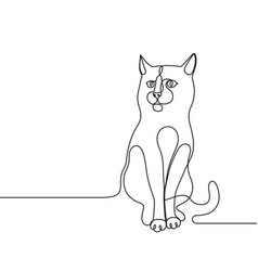 continuous line drawing cat single line concept vector image