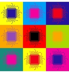 CPU Microprocessor Pop-art style icons set vector image