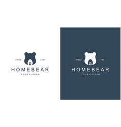 Creative bear house bear home logo hipster retro vector