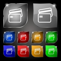 Credit card icon sign Set of ten colorful buttons vector image