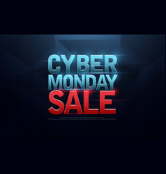 Cyber monday sale logo design letters on dark vector