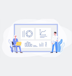 data analysis banner with people track statistics vector image