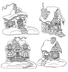 design set with decorated cottage houses vector image