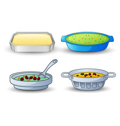 different types of soup isolated on white backgrou vector image