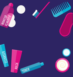 Evening beauty routine vector