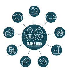 farm thin line icons and logo vector image