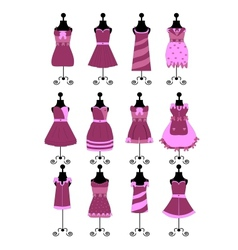 Fashion dresses and hats vector