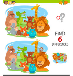 Find differences game with cartoon animals vector
