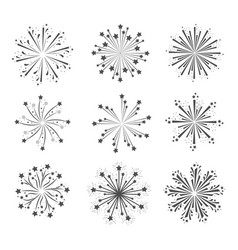 fireworks glowing group in grayscale silhouette vector image