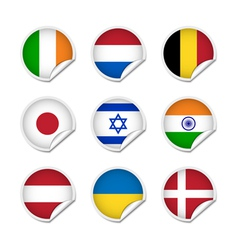 Flag stickers set 2 vector