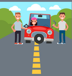 Flat design car driving characters car sharing vector