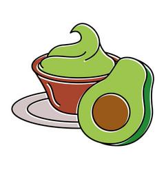 fresh avocado with guacamole sauce vector image