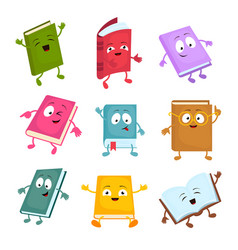 Funny and cute cartoon book characters vector