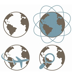 Globe earth icons set vector image
