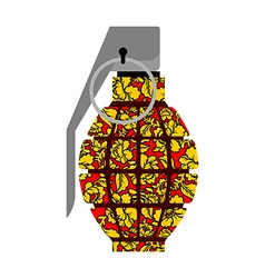 Grenade Russian Khokhloma style National folk vector image