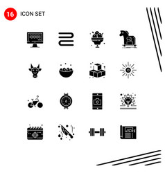 Group 16 modern solid glyphs set for adornment vector