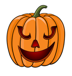 halloween pumpkin funny face hand drawn colored vector image
