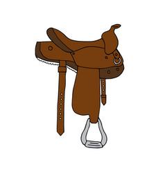 Hand drawn horse saddle vector